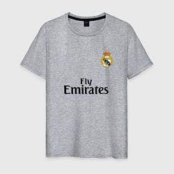 Футболка хлопковая мужская Real Madrid: Fly Emirates цвета меланж — фото 1