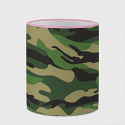 Кружка 3D Камуфляж: хаки/зеленый цвета 3D-розовый кант — фото 2