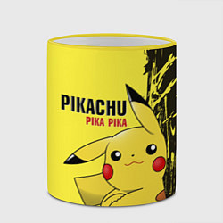 Кружка 3D Pikachu Pika Pika цвета 3D-желтый кант — фото 2