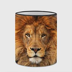 Кружка 3D Красавец лев цвета 3D-черный кант — фото 2