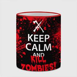 Кружка 3D Keep Calm & Kill Zombies цвета 3D-красный кант — фото 2