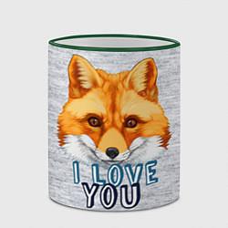 Кружка 3D Милая лисичка! цвета 3D-зеленый кант — фото 2