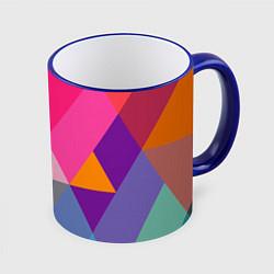 Кружка 3D Разноцветные полигоны цвета 3D-синий кант — фото 1