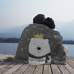 Плед флисовый Белый медведь с короной цвета 3D — фото 2