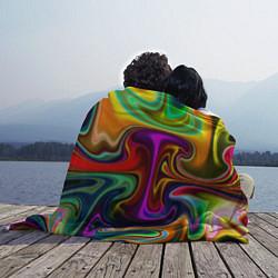 Плед флисовый Неоновые разводы цвета 3D — фото 2