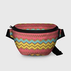 Поясная сумка Цветные зигзаги цвета 3D — фото 1
