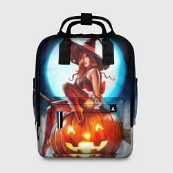 Рюкзак женский Ведьма на тыкве цвета 3D-принт — фото 1