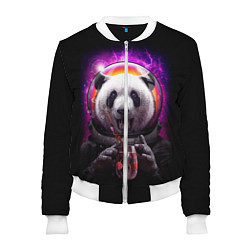 Бомбер женский Panda Cosmonaut цвета 3D-белый — фото 1