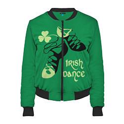 Бомбер женский Ireland, Irish dance цвета 3D-черный — фото 1