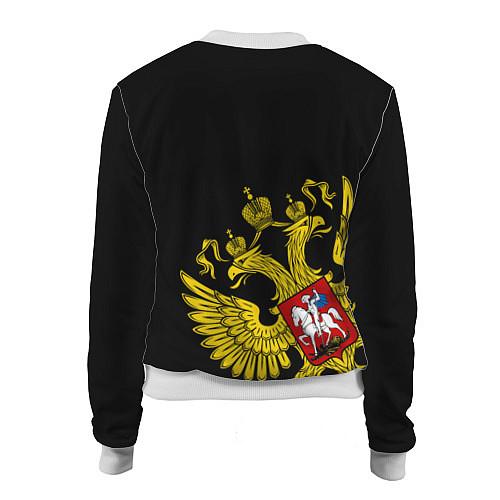 Женский бомбер Флаг и Герб России / 3D-Белый – фото 2
