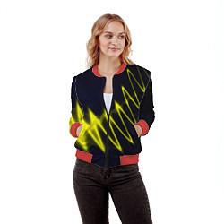 Бомбер женский Молния цвета 3D-красный — фото 2
