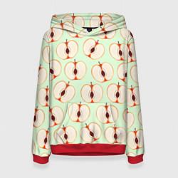 Толстовка-худи женская Молодильные яблочки цвета 3D-красный — фото 1