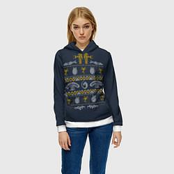 Толстовка-худи женская Новогодний свитер Чужой цвета 3D-белый — фото 2