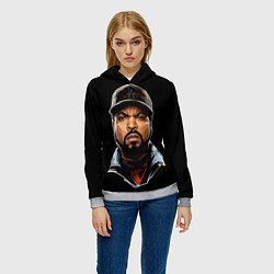 Толстовка-худи женская Ice Cube цвета 3D-меланж — фото 2