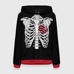 Толстовка-худи женская Кукрыниксы: Скелет цвета 3D-красный — фото 1