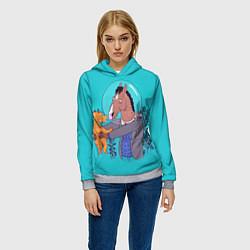 Толстовка-худи женская BoJack цвета 3D-меланж — фото 2