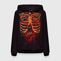 Толстовка-худи женская Человеческий скелет цвета 3D-черный — фото 1