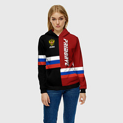 Толстовка-худи женская Primorye, Russia цвета 3D-черный — фото 2