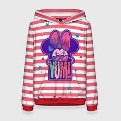 Толстовка-худи женская Minnie Mouse YUM! цвета 3D-красный — фото 1