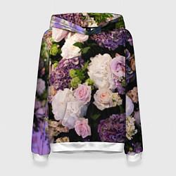 Толстовка-худи женская Весенние цветы цвета 3D-белый — фото 1