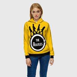 Толстовка-худи женская The Beatles: Yellow Vinyl цвета 3D-черный — фото 2