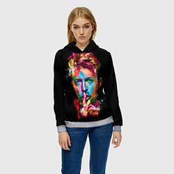 Толстовка-худи женская Дэвид Боуи цвета 3D-меланж — фото 2