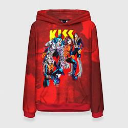 Толстовка-худи женская KISS: Hot Blood цвета 3D-красный — фото 1
