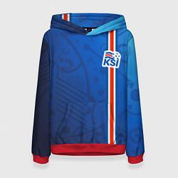 Толстовка-худи женская Сборная Исландии по футболу цвета 3D-красный — фото 1