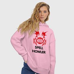 Толстовка оверсайз женская Dark Elf Mage - Spell Howler цвета светло-розовый — фото 2