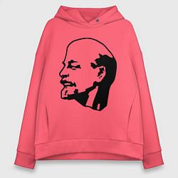 Толстовка оверсайз женская Ленин: скульптура цвета коралловый — фото 1
