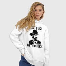 Толстовка оверсайз женская Dont Fuck With Chuck цвета белый — фото 2