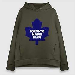 Толстовка оверсайз женская Toronto Maple Leafs цвета хаки — фото 1