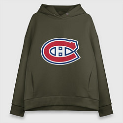 Толстовка оверсайз женская Montreal Canadiens цвета хаки — фото 1