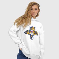 Толстовка оверсайз женская Florida Panthers цвета белый — фото 2