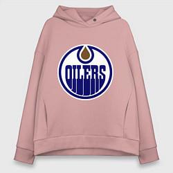 Толстовка оверсайз женская Edmonton Oilers цвета пыльно-розовый — фото 1
