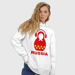 Толстовка оверсайз женская Russia dj цвета белый — фото 2