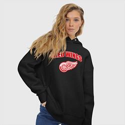 Толстовка оверсайз женская Detroit Red Wings цвета черный — фото 2