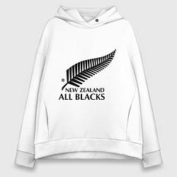 Толстовка оверсайз женская New Zeland: All blacks цвета белый — фото 1