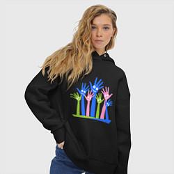 Толстовка оверсайз женская Hands Up цвета черный — фото 2