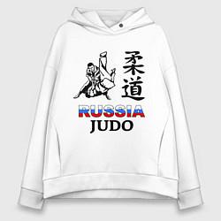 Толстовка оверсайз женская Russia Judo цвета белый — фото 1