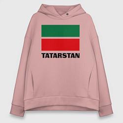 Толстовка оверсайз женская Флаг Татарстана цвета пыльно-розовый — фото 1
