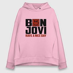 Толстовка оверсайз женская Bon Jovi: Nice day цвета светло-розовый — фото 1