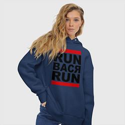 Толстовка оверсайз женская Run Вася Run цвета тёмно-синий — фото 2