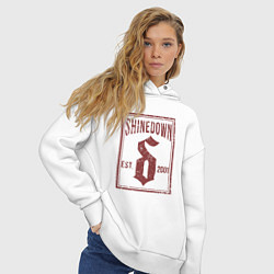 Толстовка оверсайз женская Shinedown est 2001 цвета белый — фото 2