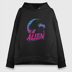 Толстовка оверсайз женская Alien: Retro Style цвета черный — фото 1