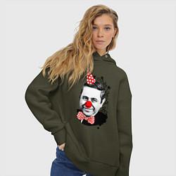 Толстовка оверсайз женская Евгений Петросян клоун цвета хаки — фото 2