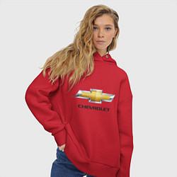 Толстовка оверсайз женская Chevrolet логотип цвета красный — фото 2