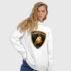 Толстовка оверсайз женская Lamborghini logo цвета белый — фото 2