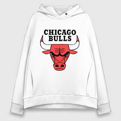 Толстовка оверсайз женская Chicago Bulls цвета белый — фото 1