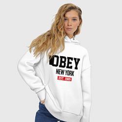 Толстовка оверсайз женская Obey Est. 1989 цвета белый — фото 2